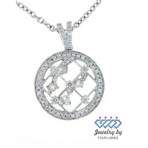 Real Diamond Vintage Round Pendant 14K White Gold
